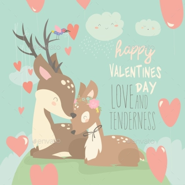 Cartoon Deer Couple with Hearts Balloons - Animals Characters