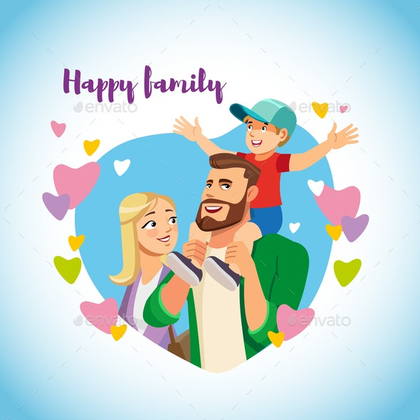 Happy Family with Child Cartoon Vector Concept - People Characters