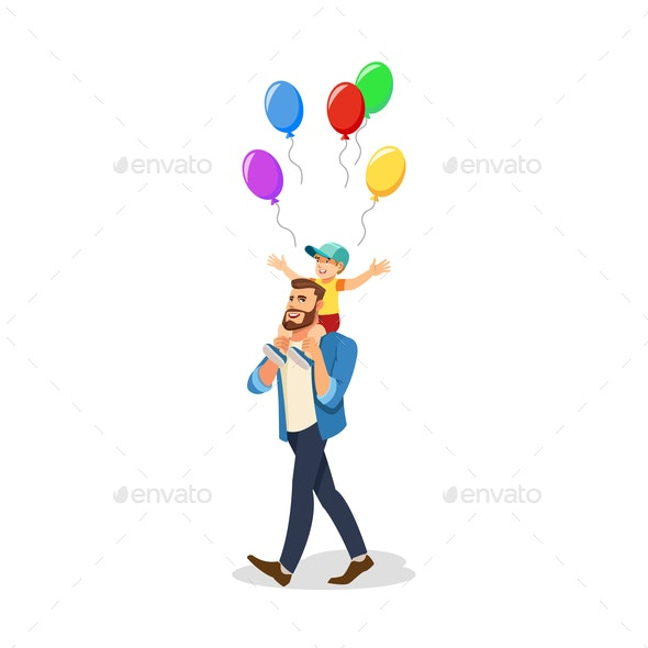 Son Celebrating Holiday with Dad Cartoon Vector - People Characters
