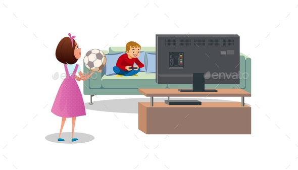 Mother Asking Son to Play Ball Cartoon Vector - People Characters