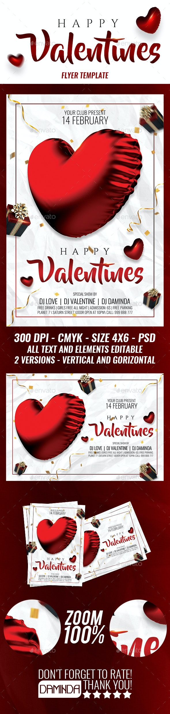 Happy Valentines 2019 Flyer Template (2 versions) - Clubs & Parties Events