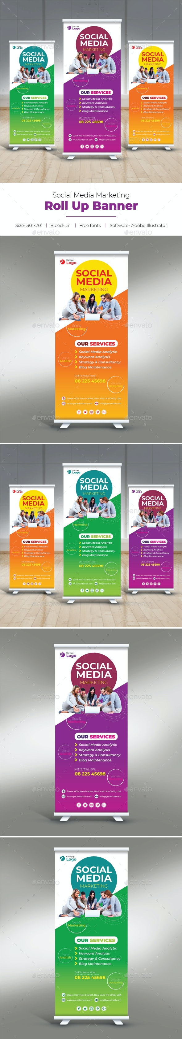 Social Media Marketing Roll Up Banner - Signage Print Templates