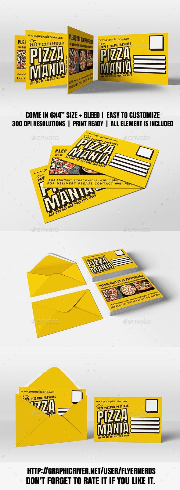 Pizzaria Promotion PostCard - Cards & Invites Print Templates