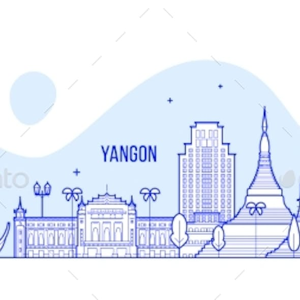 Yangon Rangoon Skyline Myanmar City Vector