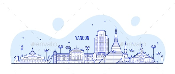 Yangon Rangoon Skyline Myanmar City Vector - Buildings Objects