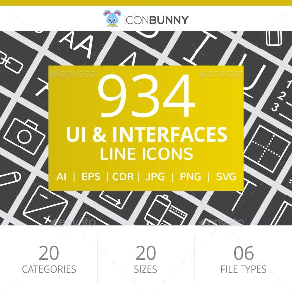 934 UI & Interfaces Line Inverted Icons