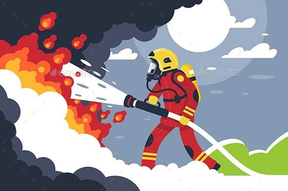 Flat Fire Fighting Man Puts Out Fire - People Characters