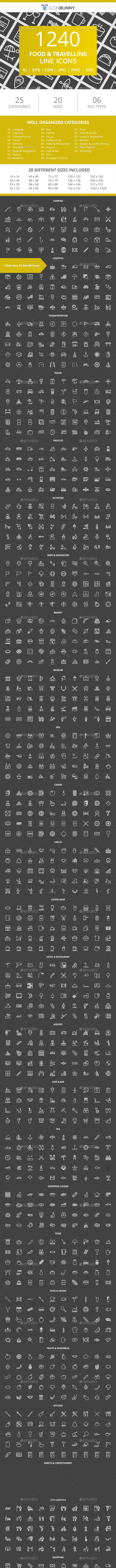 1240 Food & Travelling Line Inverted Icons - Icons