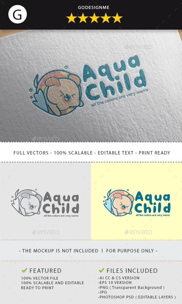 Aqua Child Logo Design - Vector Abstract