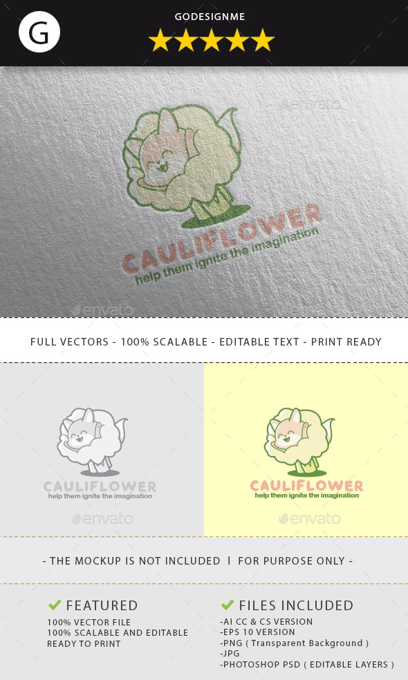 Cauliflower Logo Design - Vector Abstract