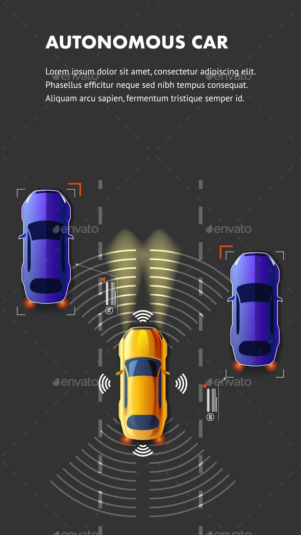 Autonomus Car Traffic Top View Vector Illustration - Computers Technology