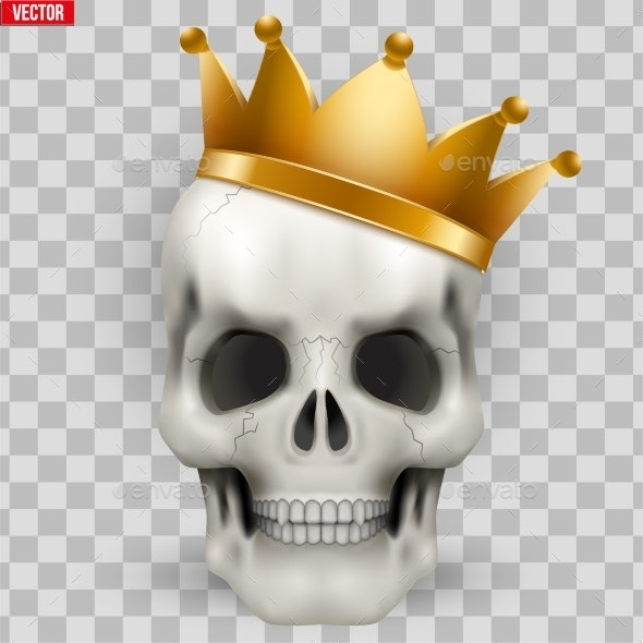 Vector Human Skull with King Golden Crown - Miscellaneous Characters