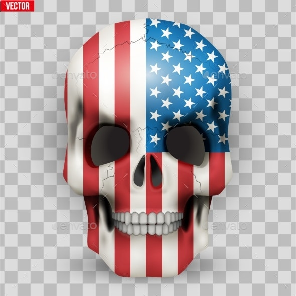 Skull with USA Flag - Miscellaneous Vectors