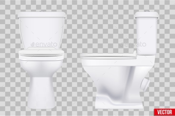 Ceramic Toilet Classic Model Set - Man-made Objects Objects