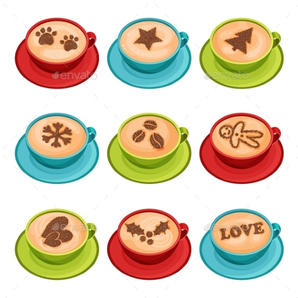 Flat Vector Set of Mugs of Hot Coffee with Latte - Food Objects