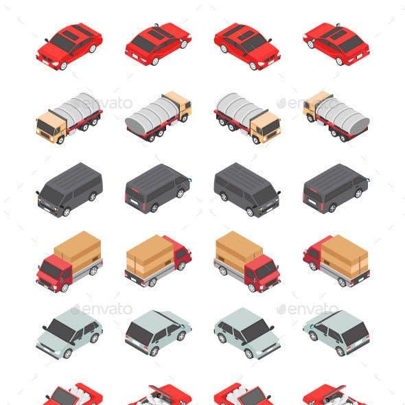 48 Transport Isometric Icons