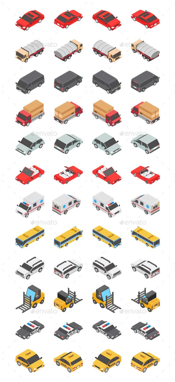 48 Transport Isometric Icons - Icons