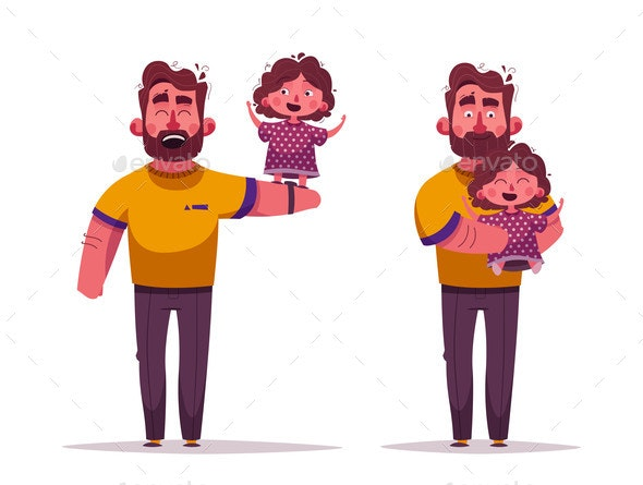 Dad and Daughter Together - People Characters