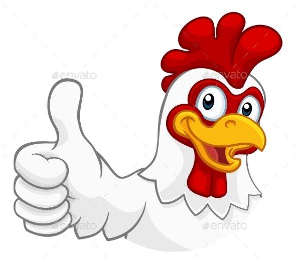 Chicken Cartoon Rooster Cockerel Character - Animals Characters