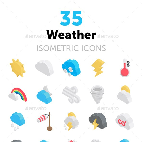 35 Weather Isometric Icons