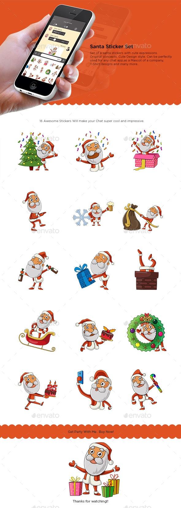 Santa Claus Sticker Set - Christmas Seasons/Holidays