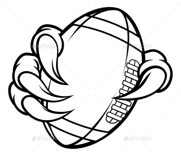 Eagle Bird Monster Claw Holding Football Ball - Sports/Activity Conceptual