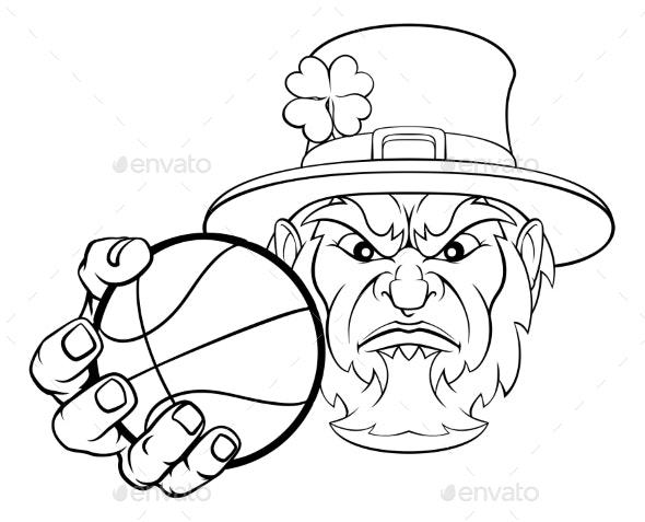 Leprechaun Holding Basketball Ball Sports Mascot - Sports/Activity Conceptual