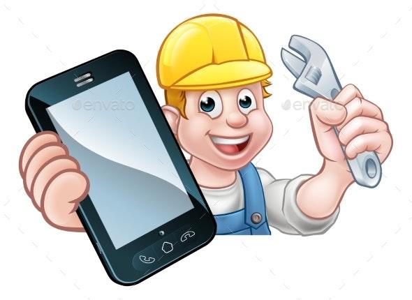 Mechanic Plumber Handyman Phone Concept - People Characters