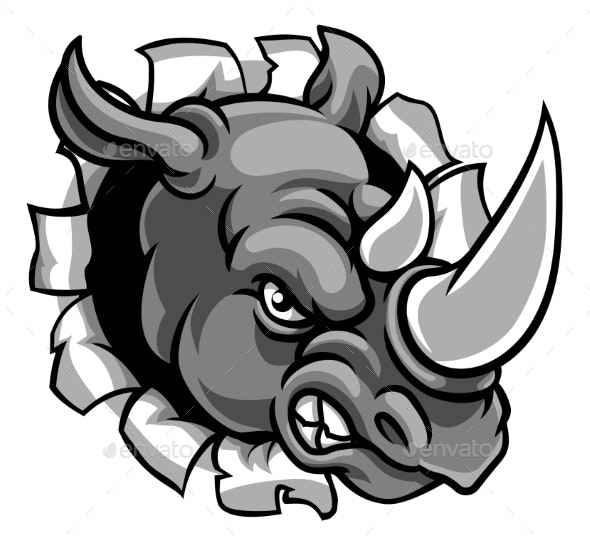 Rhino Mean Angry Sports Mascot Breaking Background - Sports/Activity Conceptual