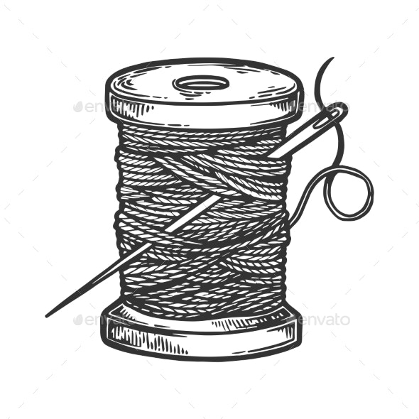 Spool of Thread and Needle Engraving Vector - Miscellaneous Vectors
