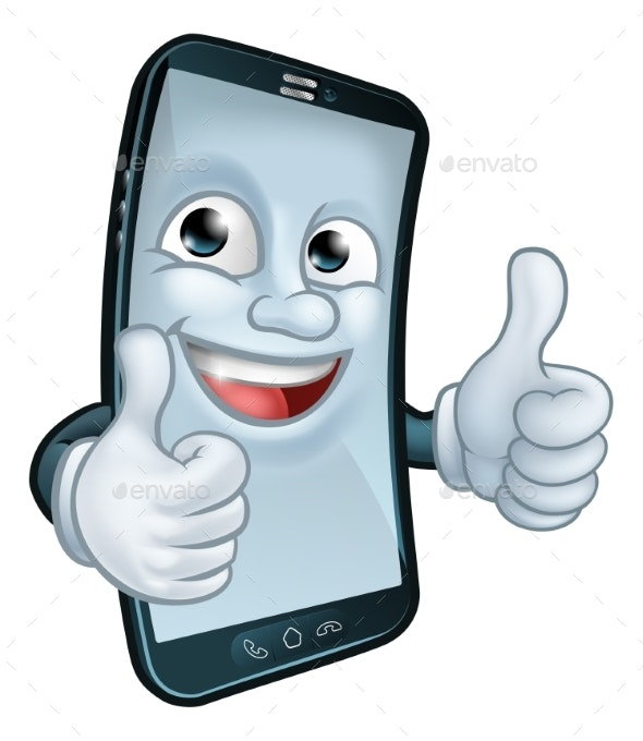 Mobile Phone Thumbs Up Cartoon Mascot - Miscellaneous Characters