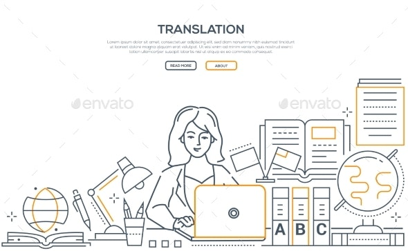 Translation - Modern Line Design Style Web Banner - Miscellaneous Vectors