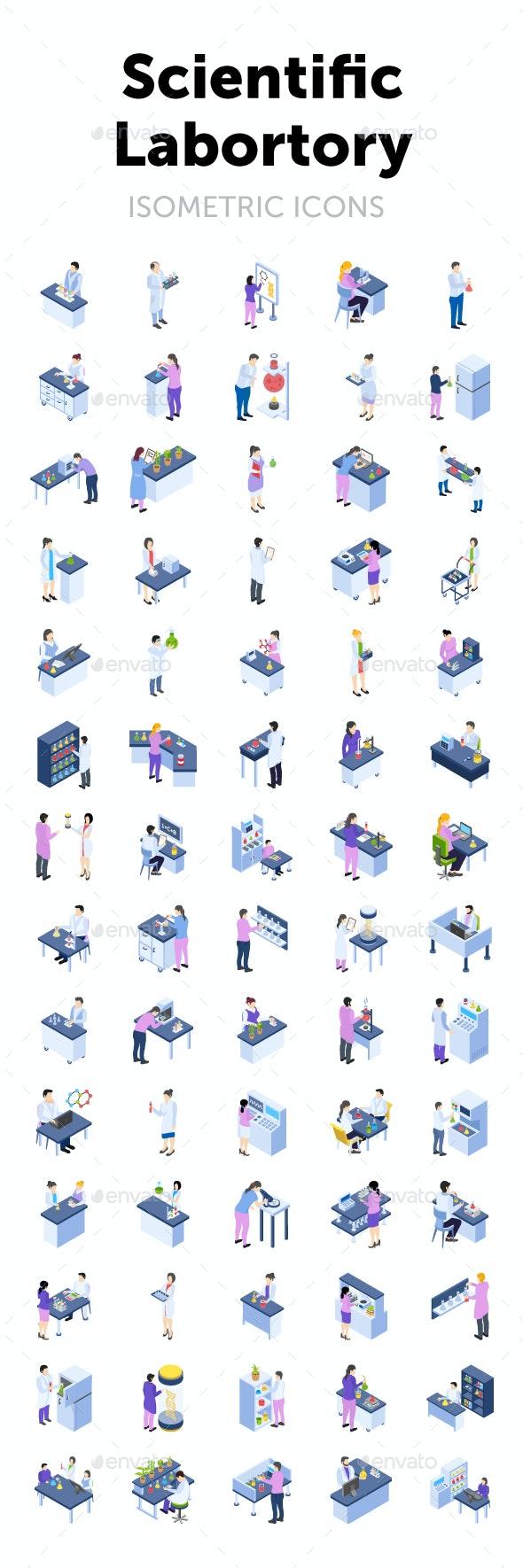Scientific Laboratory Isometric Icon - Icons