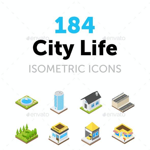 184 City Life Isometric Icons
