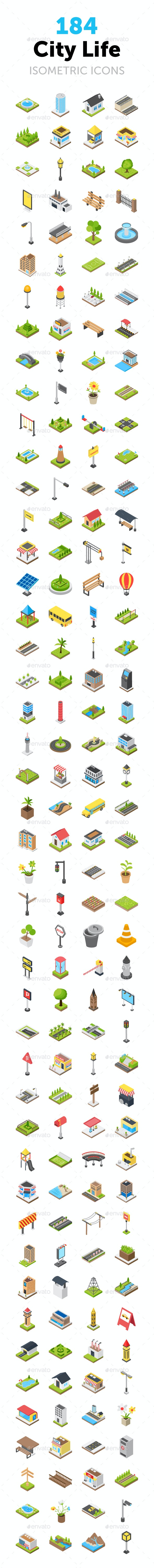 184 City Life Isometric Icons - Icons
