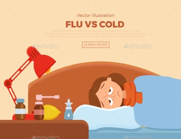 Sick Girl in Bed with the Symptoms of Cold Flu - Health/Medicine Conceptual