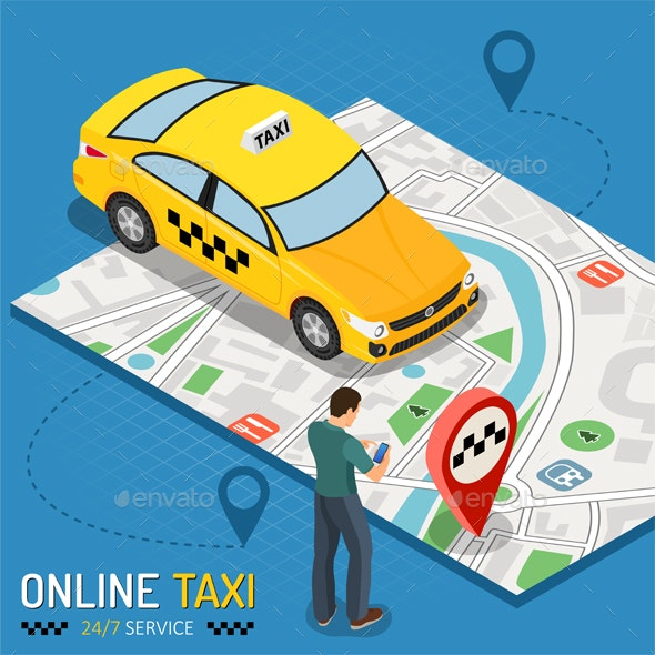 Online Taxi Isometric Concept - Services Commercial / Shopping