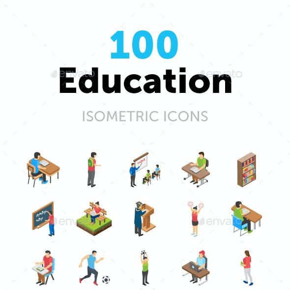 100 Education Isometric Icons