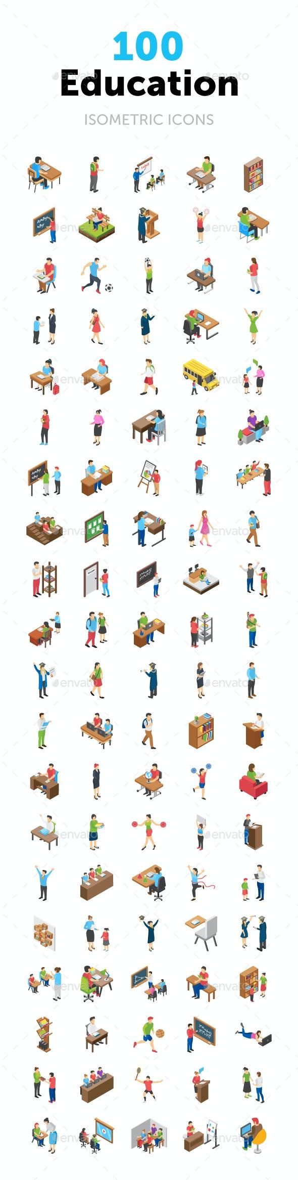 100 Education Isometric Icons - Icons