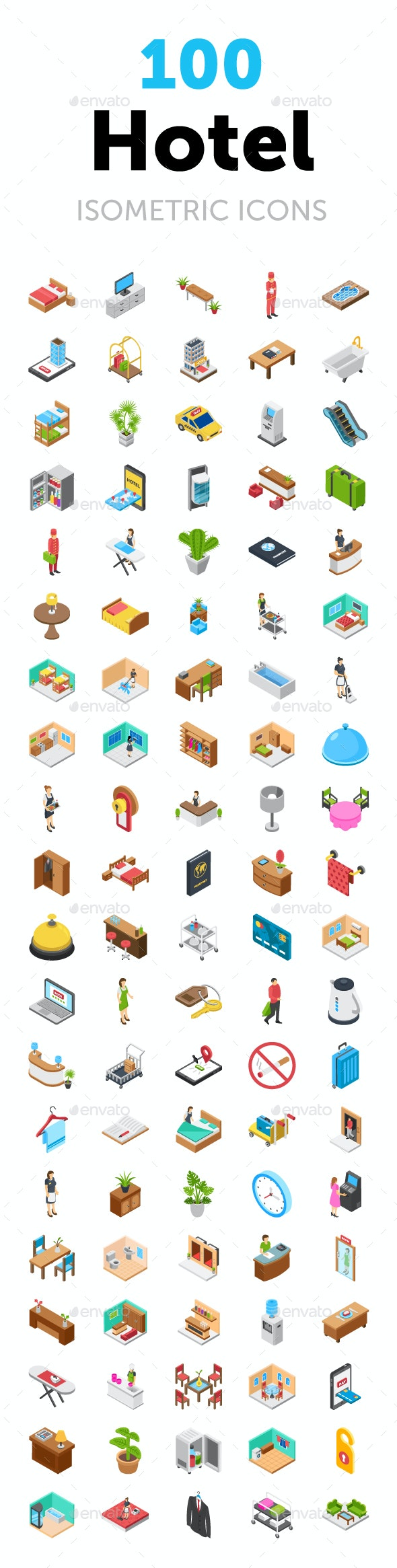 100 Hotel Isometric Icons Pack - Icons