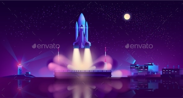 Spaceship Launch From Floating Platform Vector - Travel Conceptual