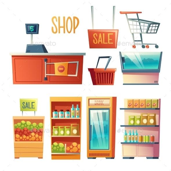 Supermarket Interior Design Element Vector Set - Food Objects