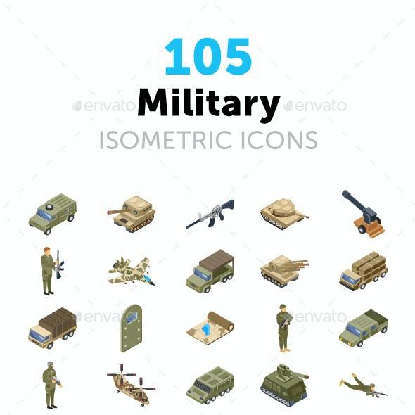 105 Military Isometric Icons