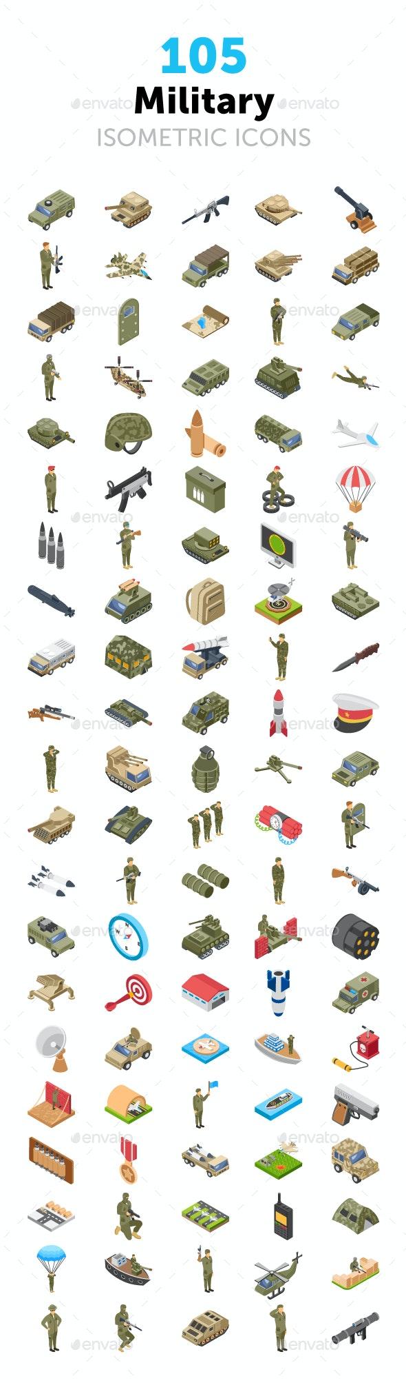 105 Military Isometric Icons - Icons