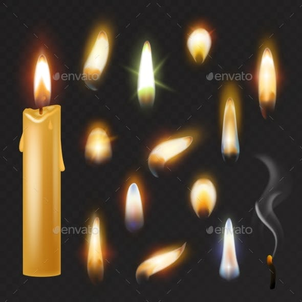 Candle Flame Vector Fired Flaming Candlelight