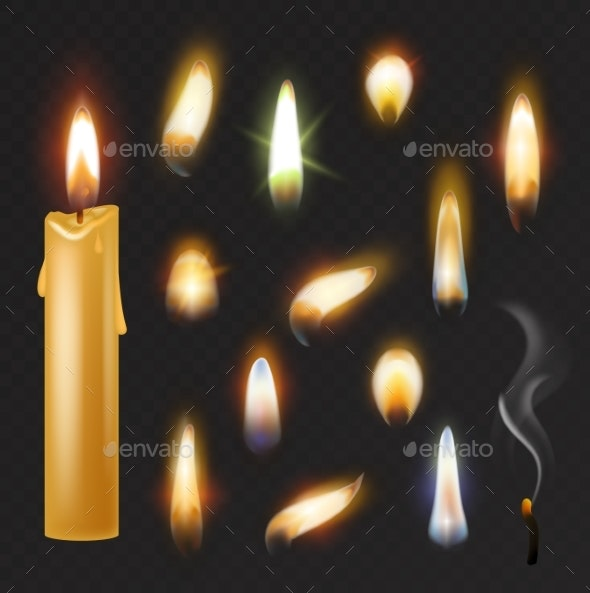 Candle Flame Vector Fired Flaming Candlelight - Miscellaneous Vectors
