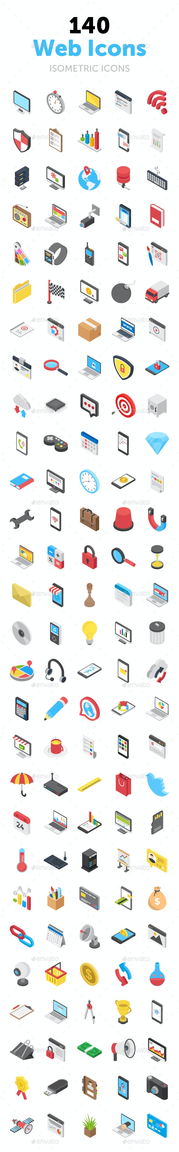 140 Web Isometric Vector Icons - Icons