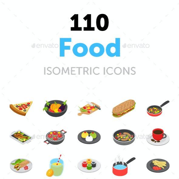110 Food Isometric Vector Icons