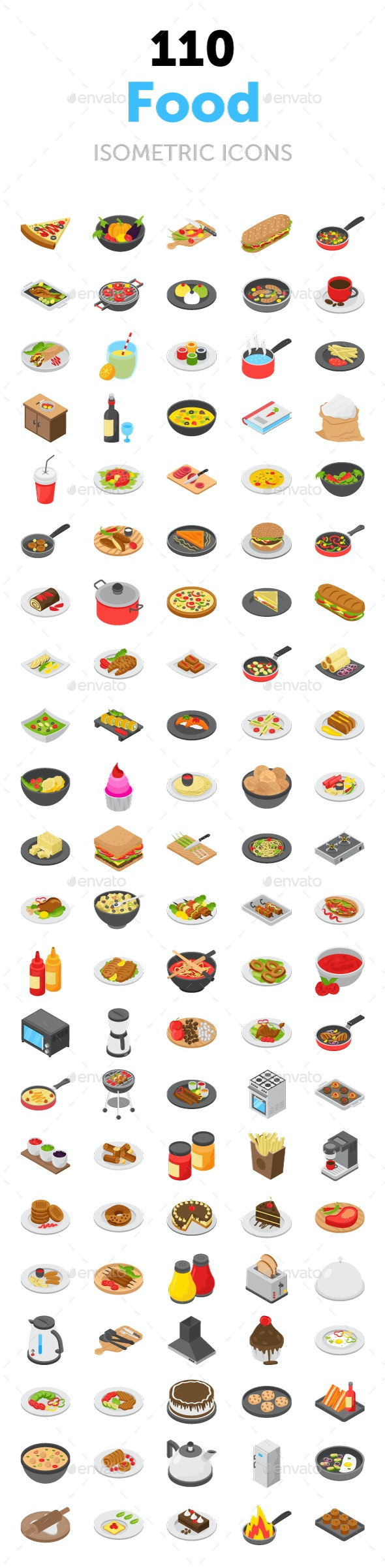 110 Food Isometric Vector Icons - Icons