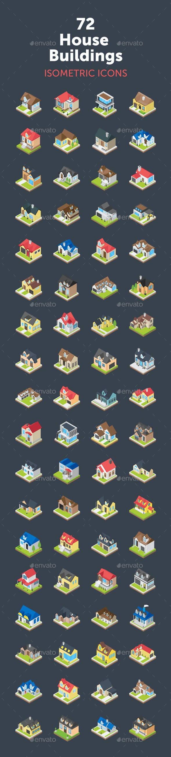 72 House Buildings Isometric Icons - Icons